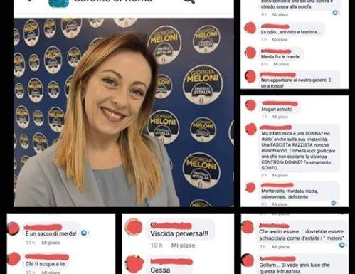 """La leader di FDI Giorgia Meloni  presa di mira dalle Sardine: """"Magari schiatti, fascista.."""""""