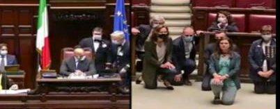 La buffonata di Boldrini & Co: in ginocchio per Floyd, per gli italiani suicidi e disperati, neanche per sogno